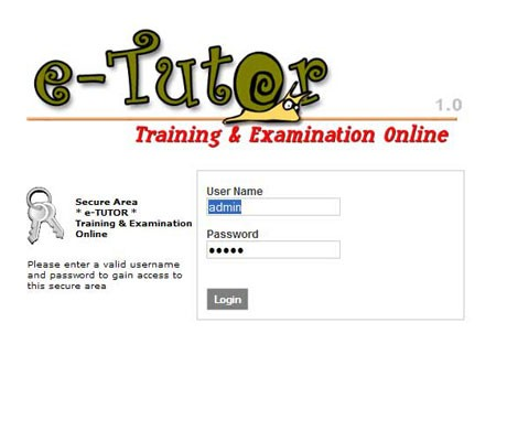 e-TutorTraining & Examination Online.Suitable for internal institution/company training, examination or e-learning system. Using web-based technology, this application can be access on multi platform Operating System.